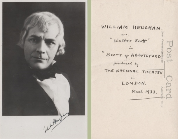 William Heughan in character as Walter Scott