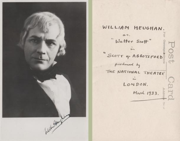 William Heughan in character as Walter Scott